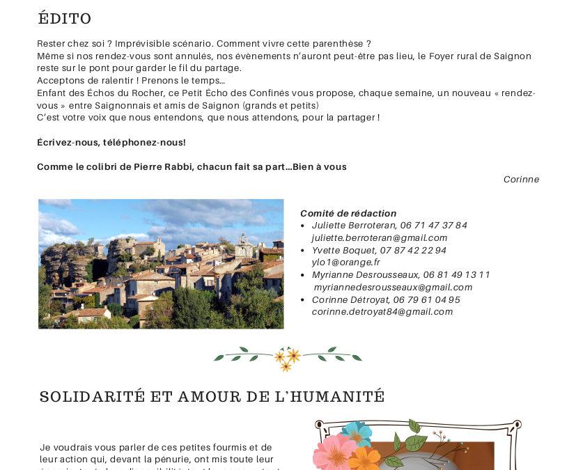 Le Petit Echo des Confinés // Par le Foyer Rural de Saignon